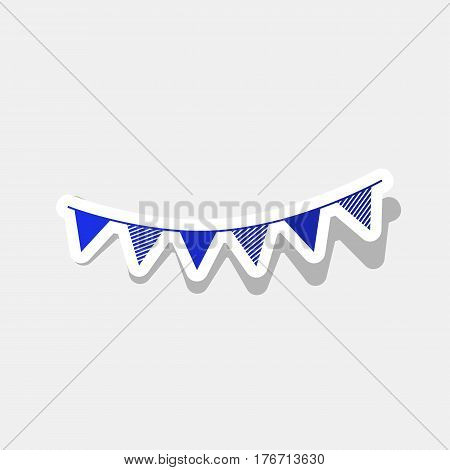 Holiday flags garlands sign. Vector. New year bluish icon with outside stroke and gray shadow on light gray background.