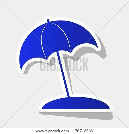 Umbrella and sun lounger sign. Vector. New year bluish icon with outside stroke and gray shadow on light gray background.