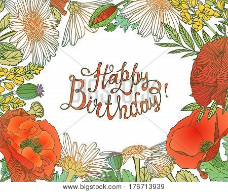Happy Birthday! Card With Floral Frame