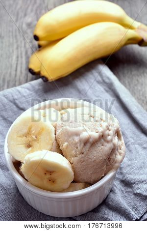 Banana ice cream in bowl country style