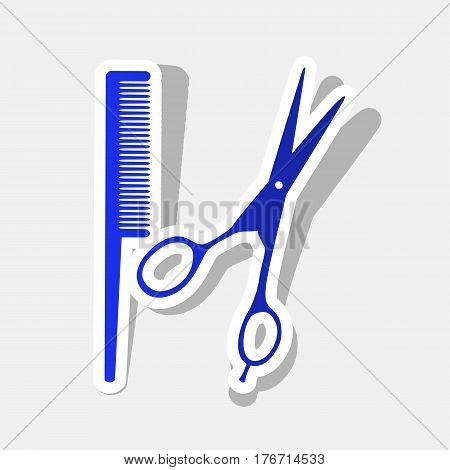 Barber shop sign. Vector. New year bluish icon with outside stroke and gray shadow on light gray background.