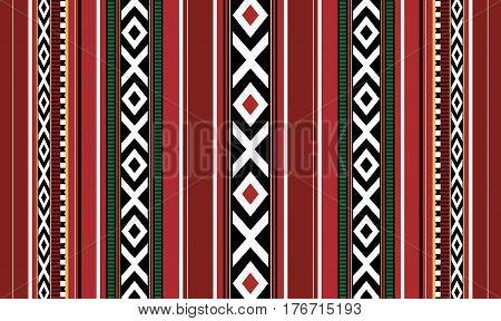 Red Detailed Horizontal Traditional Handmade Sadu Rug