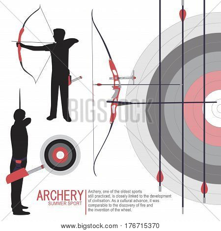 Archery player sport silhouettes background illustration vector