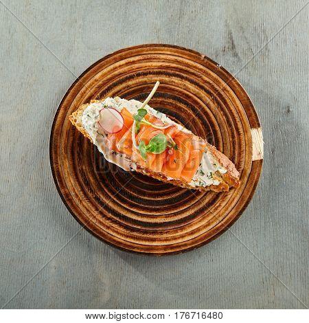 Restaurant Food - Delicious Salmon Bruschetta. Gourmet Italian Restaurant Menu
