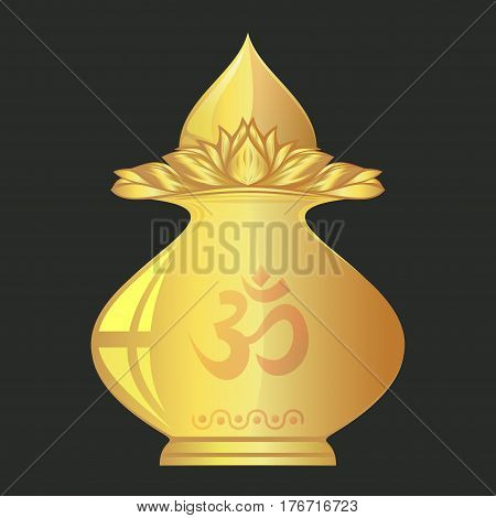 Kalasha also kalash or kalasa. Metal pot used in Hindu rites, festival and depicted in Hindu iconography. Gold Pooja Kalash with gold coconut. Vector illustration