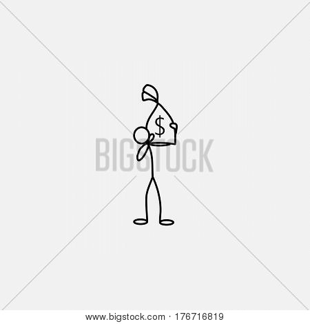 Cartoon icon of sketch stick figure vector business man with money