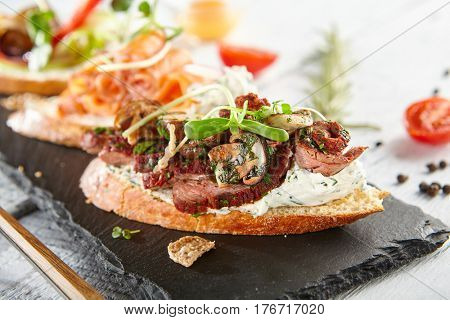 Restaurant Food - Delicious Various Bruschetta. Gourmet Italian Restaurant Menu