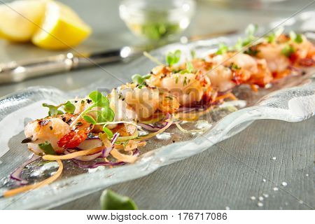Restaurant Food - Delicious Tiger Prawn. Gourmet Restaurant Appetizers