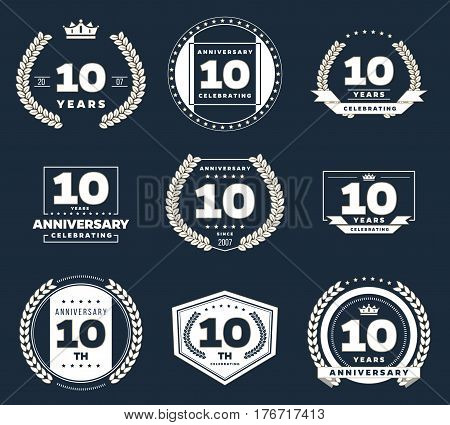 Ten years anniversary logotypes and badges. 10th anniversary logo collection.