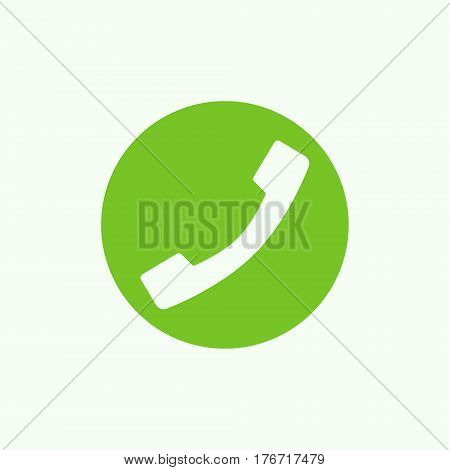 Phone green icon - vector handset in circle flat sign. Call center concept symbol