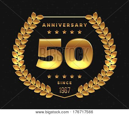 Fifty years anniversary banner. 50th anniversary logo. Vector illustration.