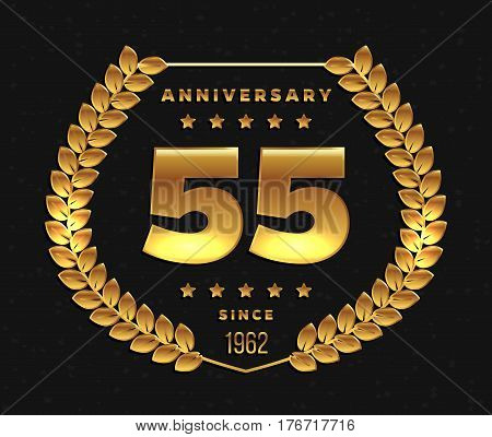 Fifty five years anniversary banner. 55th anniversary logo. Vector illustration.