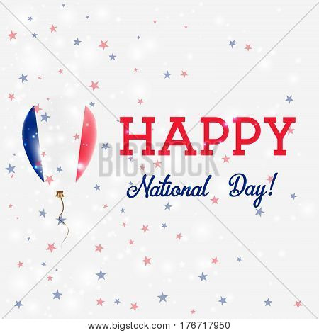 France National Day Patriotic Poster. Flying Rubber Balloon In Colors Of The French Flag. France Nat