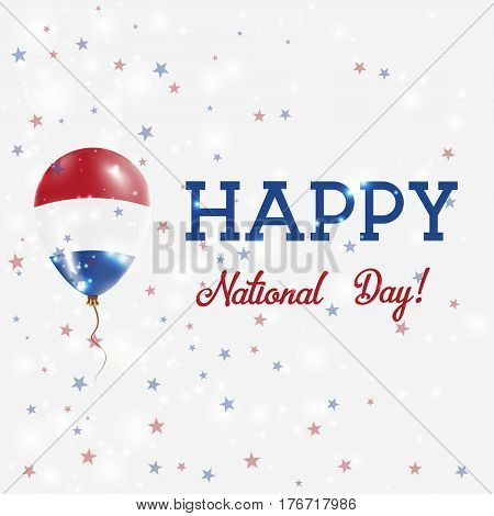 Bes Islands National Day Patriotic Poster. Flying Rubber Balloon In Colors Of The Dutch Flag. Bes Is