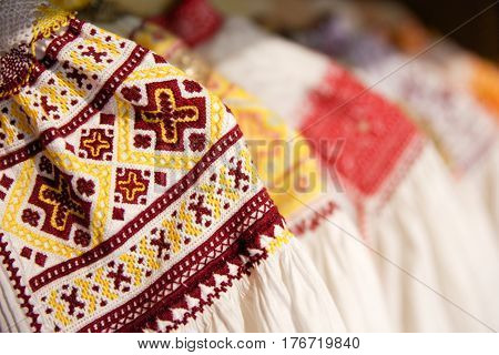 Classical slovakian folk costume. Traditional woman suit