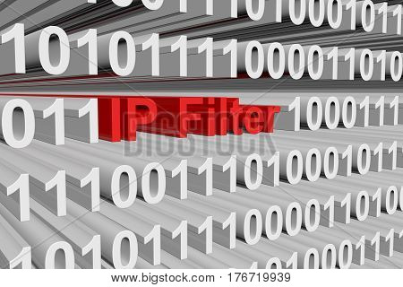 ip filter in the form of binary code 3d illustration