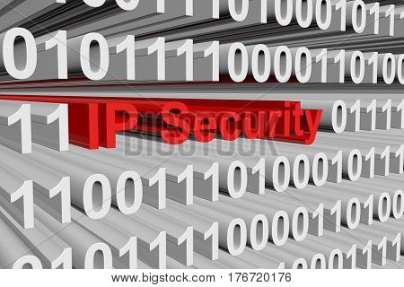 IP Security is in the form of binary code 3d illustration