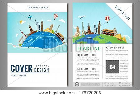 Travel flyer design with famous world landmarks. Brochure headline for Travel and Tourism. Vector. Modern flat design.
