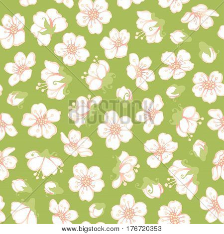Vector Seamless Spring Blossoms Pattern.