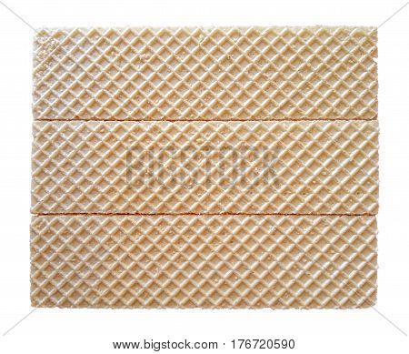 Block of waffles isolated on white with Clipping Path