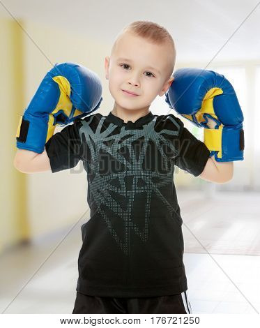 Cute little boy shows his Boxing gloves.In the Montessori room the children's garden where there are shelves with toys and material.