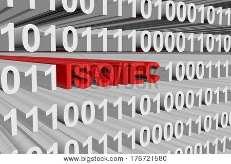 ISO IEC presented in the form of binary code, 3d illustration