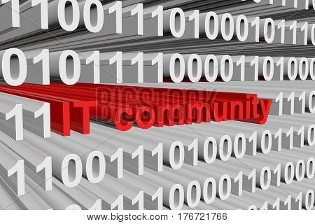 IT community presented in the form of binary code 3d illustration