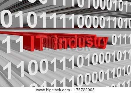 it industry is presented in the form of binary code 3d illustration