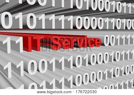 IT Service is presented in the form of binary code 3d illustration