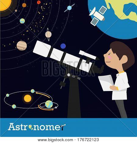 astronomer, occupation graphic illustration cartoon character design