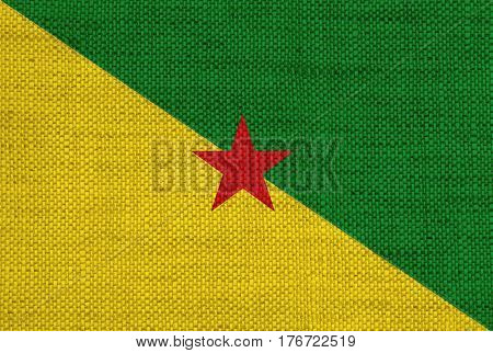 Flag Of French Guiana On Old Linen