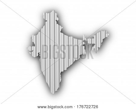 Map Of India On Corrugated Iron