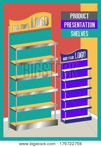 Two Sizes Promotional Blank Product Presentation Shelves