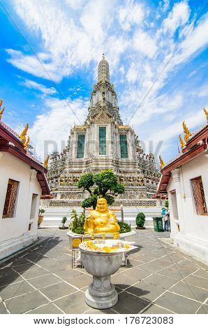 Wat arun, About Buddhism gold in temple of bangkok thailand.