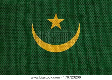 Flag Of Mauritania On Old Linen