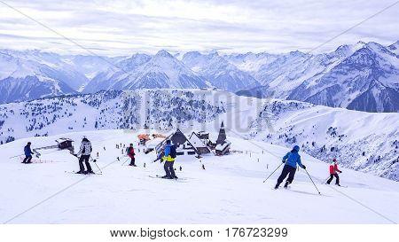 Austria - Mayrhofen Tirol - March 16 2017: Ski resort in Mayrhofen Tyrol in Austria, Mayrhofen Tirol on 16 March 2017