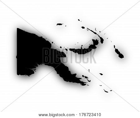 Map Of Papua New Guinea With Shadow