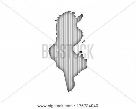 Map Of Tunisia On Corrugated Iron