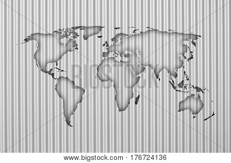 Map Of The World On Corrugated Iron