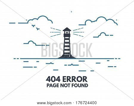 404 error page flat line concept. Link to a non-existent page. Lighthouse with rays of light in the sea shore clouds waves. 404 page not found design tamplate.