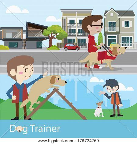 Dog trainer training vector illustration cartoon character