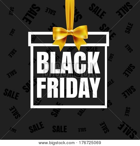 Black Friday sale banner. White paper frame gift box frame with yellow silky bow and ribbon on black seamless paper background. Black friday sale logo for banner, web, flyer, header design. Vector