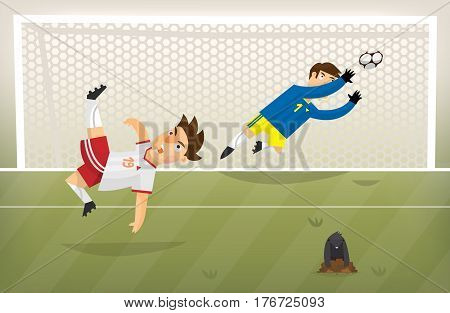 Football player playing soccer scoring goal on a green field