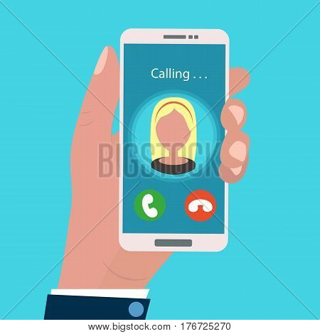 Hand holding calling mobile phone in flat design style. incoming call. Vector illustration