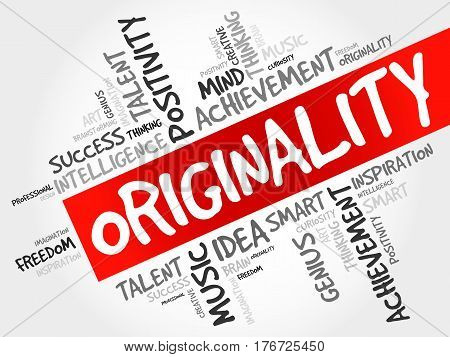Originality word cloud collage, business concept background