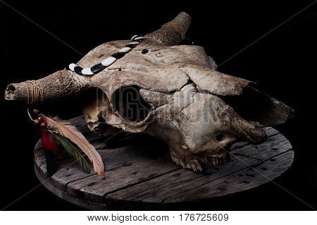 Cow skull decorated with feathers and such, laying on a grey wooden plate, with strong biker / rock n roll / native american vibes.