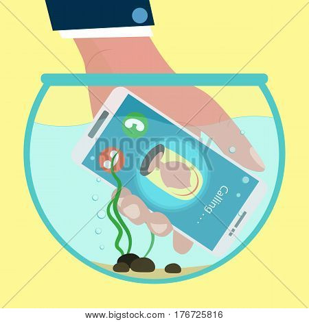 Hand holding calling mobile phone inside the aquarium in flat design style. incoming call. Concept of waterproof smartphone.Vector illustration