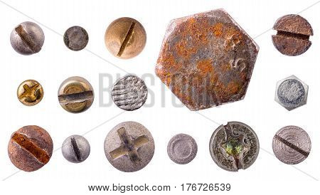 Screw rivet nail bolt heads collection set isolated on white background