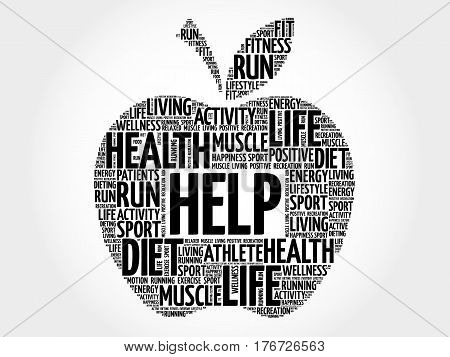 Help apple word cloud collage, health concept background