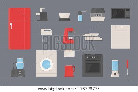 kitchen appliances set Fridge, washing machine, kettle, blender, toaster, electric grill, coffee machine, steamer, microwave coffee grinder dishwasher mixer meat grinder flat illustrations